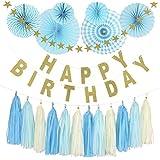 パーティーパーク HAPPY BIRTHDAY 誕生日 飾り付け 装飾 豪華セット デコレーション 英文字ガーランド 星 タッセル ペーパーファン 選べるカラー(ピンク?ブルー) (ブルー)