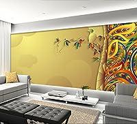 Sproud カスタムの写真の壁紙、カラフルな抽象的な葉、 3 部屋のベッドルームレストランの壁の壁紙 250 Cmx 175 Cm リビングの立体視の壁紙