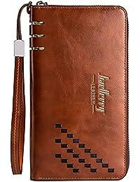 Strimm 長財布 二つ折りロングウォレットジッパー携帯電話ポケット、12個のクレジットカードスロット、2つのキャッシュコンパートメント