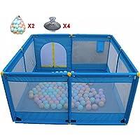 青い赤ちゃんの遊び場ボール、折り畳み式&コンパクトで、強く耐久性のある遊びペン、屋内屋外の自宅の安全ゲーム再生庭フェンス、ルームディバイダー (色 : 青)