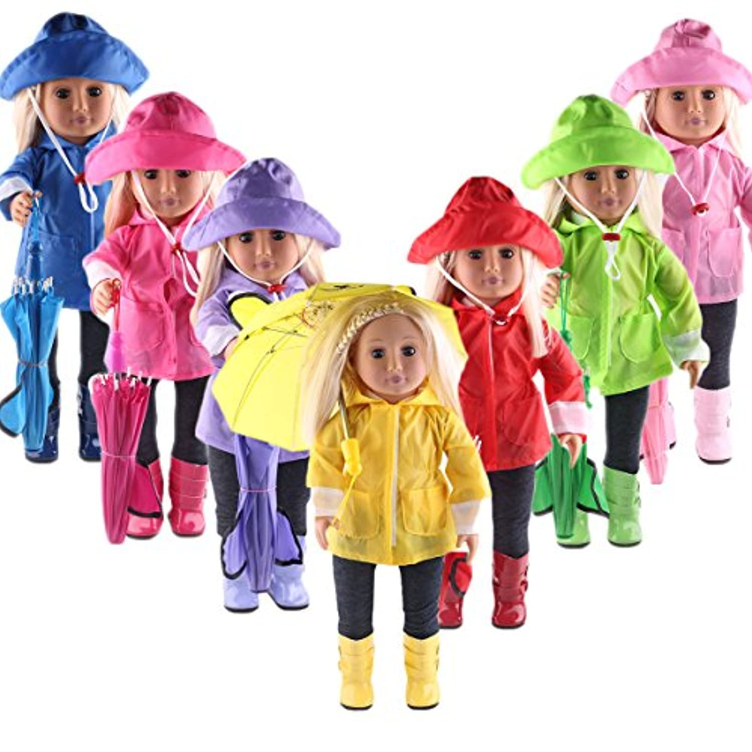 ZWSISU Doll Clothes Blue Rain Outfits Accessories for 18 inch American Girl Dolls Package Includes Rain Jacket,