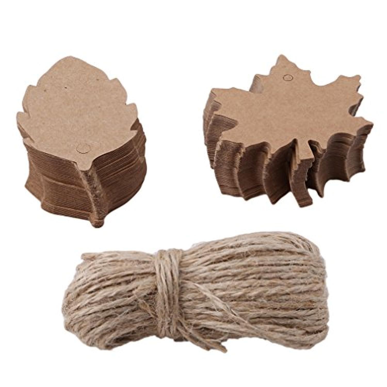 KLUMA クラフトタグ 値札 糸付き下げ札 無料の麻糸付 結婚式 パーティー 撮影用 菓子屋 茶褐色 100枚