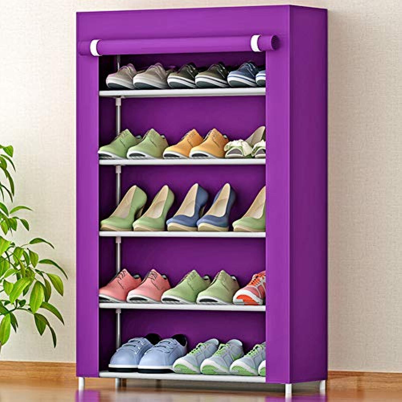 靴のラックシンプルな靴のラック、多層の家庭用ストレージシュー、インストールが簡単(4/5/6/7/8層)紫色