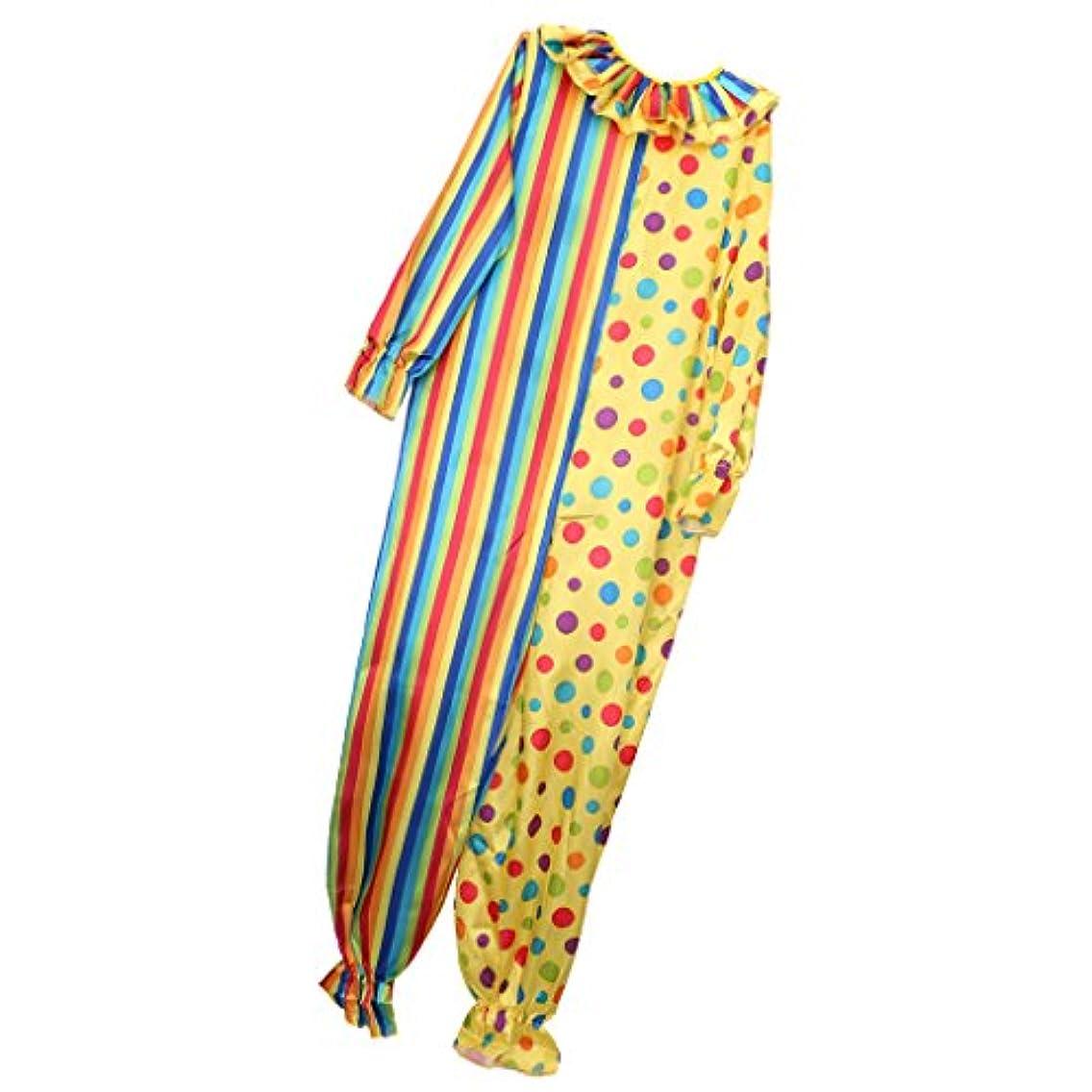 臨検効能悪性腫瘍大人 ピエロ 衣装 ストライプ 斑点付け 服 コスプレ パーティー ファンシー ドレス
