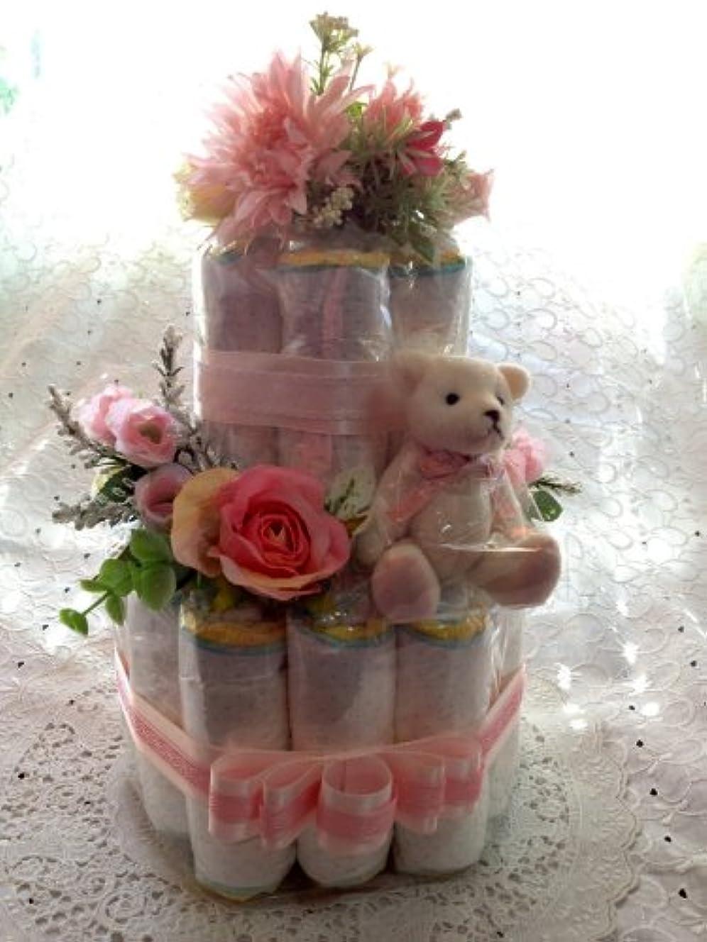 つぼみ不毛の原因おむつケーキ 2段 Rose Bear (m)