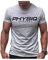 Musgneer(マスリエ) トレーニングウェア 半袖 メンズ Tシャツ スポーツ トップス フィットネスウェア 筋トレ 大きいサイズ ライトグレー M