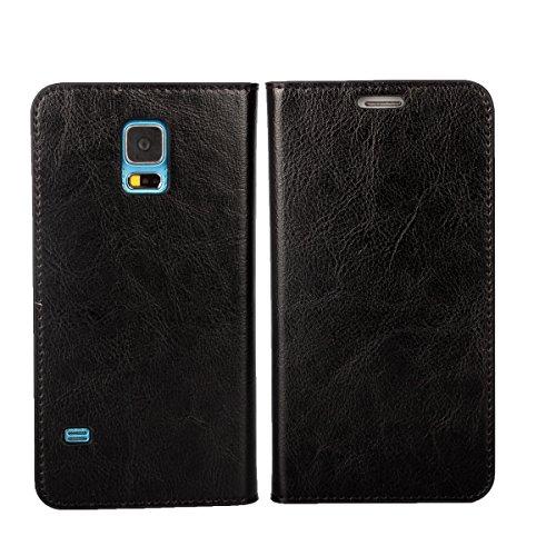 DeftD Samsung Galaxy S5 用 ケース 携帯 カバー 手帳型 財布型 本革 シンプル ビジネス風 横開き サムスン ギャラクシー エス5 スマホケース SC-04F ドコモ SCL23 au ブラック