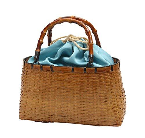 浴衣 巾着 大きめ 竹かご バッグ 巾着取り外し可能 (ブルー)