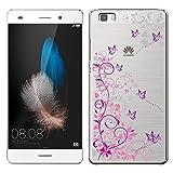 「Breeze-正規品」iPhone ・ スマホケース ポリカーボネイト [透明-Purple] ファーウェイ カバー Huawei P8 lite/LUMIERE[P8lite][503HW]