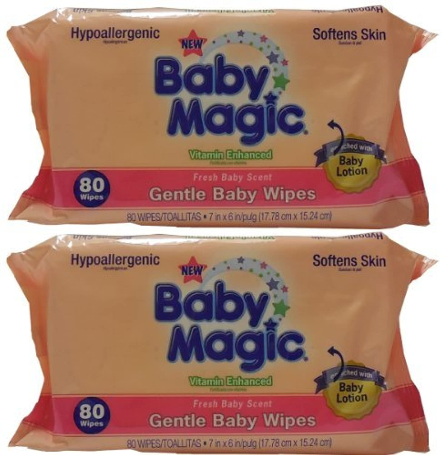 Baby Magic Gentle Baby Wipes, Refill or Travel Pack with 80 wipes (Pack of 2 - Total 160 Wipes) by Baby Magic [並行輸入品]