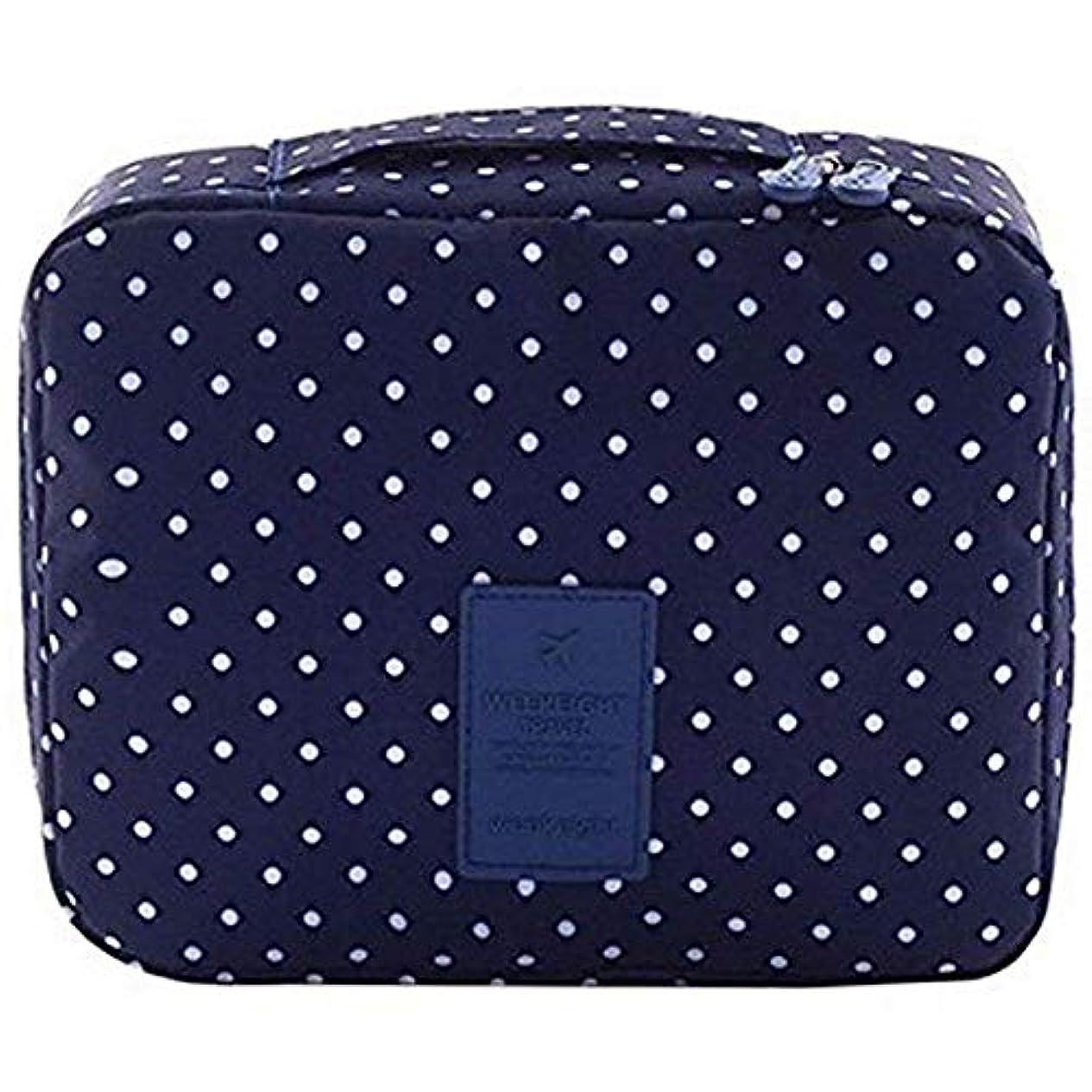 Semoic 旅行化粧品バッグ印刷多機能ポータブルトイレタリーバッグ化粧品メイクポーチ旅行用のケースオーガナイザー(海軍サークル)