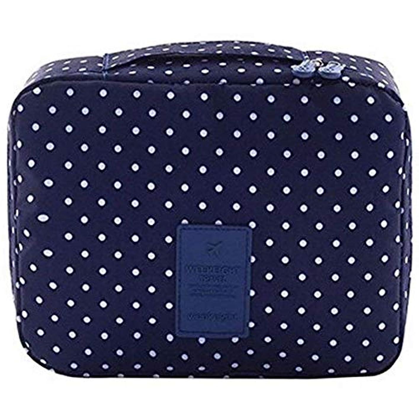 弾性左容量Semoic 旅行化粧品バッグ印刷多機能ポータブルトイレタリーバッグ化粧品メイクポーチ旅行用のケースオーガナイザー(海軍サークル)