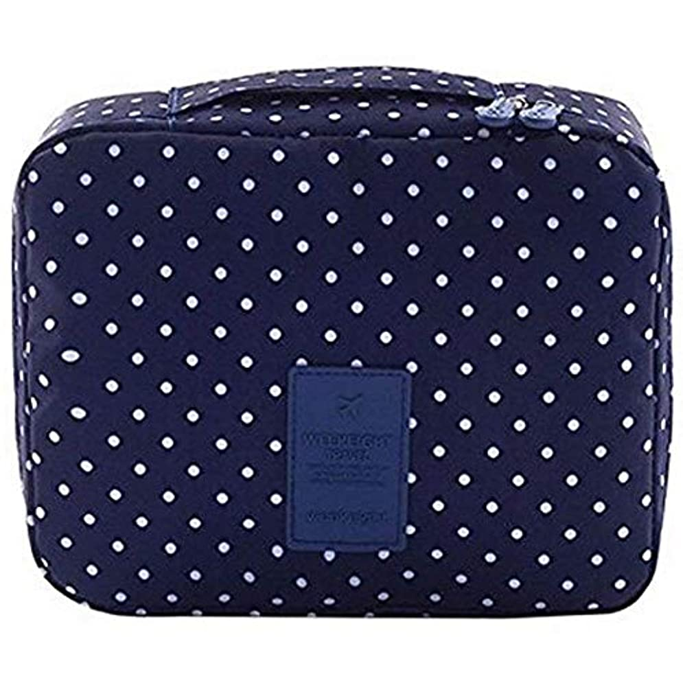 読みやすいライム寄託Semoic 旅行化粧品バッグ印刷多機能ポータブルトイレタリーバッグ化粧品メイクポーチ旅行用のケースオーガナイザー(海軍サークル)