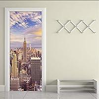 Xbwy 3D壁紙市建物写真壁壁画リビングルームオフィスドア壁画ステッカーPvc環境に優しいビニール壁紙ドアステッカー-120X100Cm