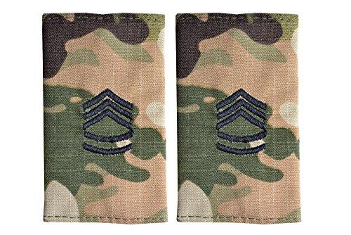 5 米陸軍 肩章 エポーレット 2枚入 階級章 1等軍曹 ワッペン レプリカ マルチカモ迷彩