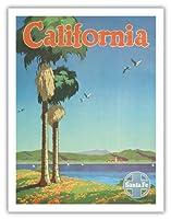 カリフォルニア - サンタフェ鉄道 - ビンテージな鉄道旅行のポスター によって作成された オスカー・M・ブリン c.1950s - アートポスター - 51cm x 66cm