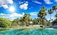 美しい景色、熱帯、ビーチ、ヤシの木、海、日光 キャンバスの 写真 ポスター 印刷 海 (60cmx40cm)