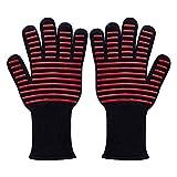 BBQ専用手袋 耐熱温度500℃ 耐火 防刃 耐切創 耐熱グローブ 着脱簡単 5本指グローブ 調理道具 2枚1セット