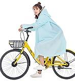 ONGMO レインコート レインポンチョ 自転車 バイク レディース メンズ 完全防水 軽量 匂いなし リュック対応 男女兼用 四季通勤通学用 収納バック付き 3WAY (ライトブルー,L)
