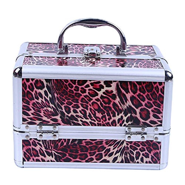 スーツケース稚魚息子化粧オーガナイザーバッグ ヒョウパターントラベルアクセサリーのポータブル化粧ケースシャンプーボディウォッシュパーソナルアイテムロックと拡張トレイ付きストレージ 化粧品ケース