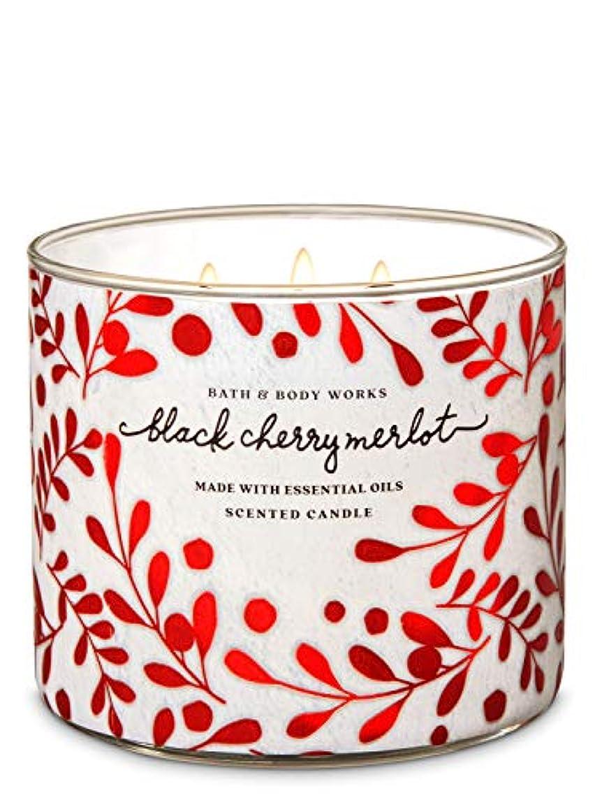 アテンダントシネウィ平手打ち【Bath&Body Works/バス&ボディワークス】 アロマキャンドル ブラックチェリーメルロー 3-Wick Scented Candle Black Cherry Merlot 14.5oz/411g [並行輸入品]