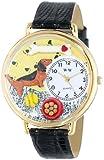 ダックスフント 黒レザー ゴールドフレーム 時計 #G0130034