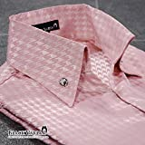 (ブラックバリア) BLACK VARIA サテンシャツ スキッパー 千鳥格子 日本製 メンズ ボタンダウン スリム ジャガード パーティー ドレスシャツ ピンク桃 935161 LL