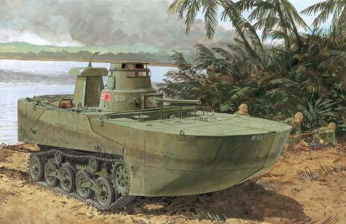 サイバーホビー 1/35 WW.II 日本海軍 水陸両用戦車 特二式内火艇 カミ 海上浮航形態 後期型フロート付き