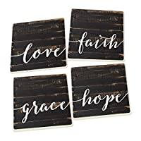 猶予Hope Love Faith Distressed Wood Look Set of 4 Ceramic Coasterパック