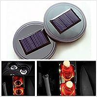 ソーラーLEDカーカップホルダーマット防水ボトルドリンクコースター内蔵振動車用ダークセンサーで自動点灯