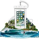 防水ケース NineUp 指紋認証対応 水に浮く スマホ用防水ポーチ アイフォン防水防塵カバー iPhone SE/5/5s/6/6s /Plus/7/7s Sony/Samsung/Huaweiなど6インチ以下全機種対応 高感度タッチスクリーン ネックストラップ(首掛け付き) IPX8認定 水中撮影 お風呂/潜水/温泉/水泳など適用(6インチ, ホワイト)