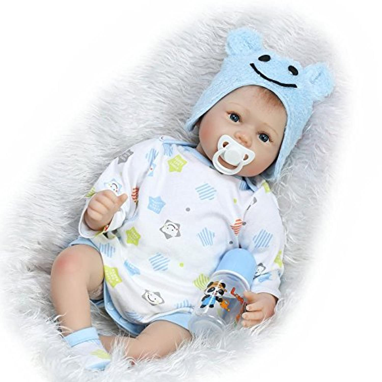 NPKDOLLシミュレーションRebornベビー人形ソフトSilicone 22インチ55 cmビニールLifelike Vivid Toy Boy Girlブルー帽子Eyes Open