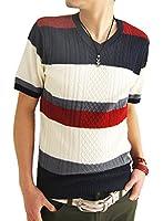 (アーケード) ARCADE 5color メンズ 春 夏 サマーニット フィッシャーマン ケーブル編みニット Vネックニット カットソー 半袖