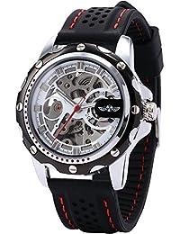 [エーエムピーエム24]AMPM24 クラシック メンズ 自動機械式 ビジネス ウォッチ ブラック シリコンバンド スケルトン 腕時計 PMW082