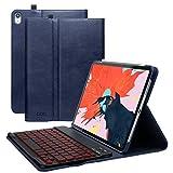 iPad Pro 11インチキーボードケース2018(ペンシルホルダーとポケット付き)、取り外し可能なタブレットシェルレザー、ワイヤレスキーボードとスマートコネクタ、傷防止フルボディ保護カバー(紺)