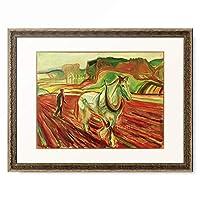 エドヴァルド・ムンク Edvard Munch 「Man plowing with a white horse II」 額装アート作品