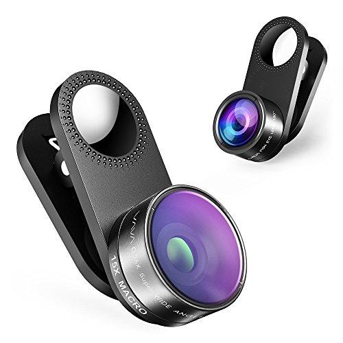 VAVA カメラレンズキット クリップ式 (180度魚眼、15倍マクロ、0.36倍広角レンズ) スマホレンズ 3点セット 自撮りに最適 旅行に VA-MS001 R (黒)
