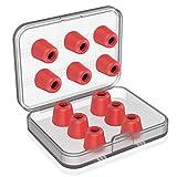 New Bee イヤホンパッド イヤーピース 6セット 交換用 遮音性 低反発ウレタン メモリーパッド イヤホンキャップ 記憶フォーム (M, 赤)