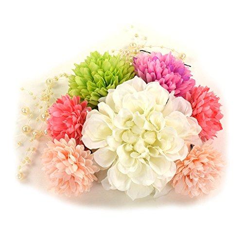 ダリア マム髪飾り8点セット ホワイト2 成人式 結婚式 浴衣