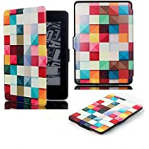 Kindle Paperwhite Case for Kindle All-New Paperwhite Thinnest and Lightest PU Leather Cover with Auto Wake/Sleep for Amazon Kindle (Colored Squares)