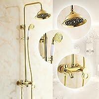 真鍮シャワーセットシャワーミキサーコンボマウント壁システム雨Luxury雨シャワーヘッド調整可能なハンドシャワー