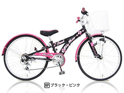 6段変速 22インチ自転車 クリシーフラワー ガールズサイクル ブラックピンク (LEDライト装備) 223636K/P