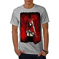 Wellcoda 女の子 ハンター 野生 ファンタジー 男性用 グレー L Tシャツ