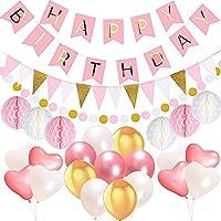 IPALMAY  1歳 誕生日 飾り付け バルーン HAPPYBIRTHDAY ガーランド ハニカムボール フラッグガーランド セット ハート 風船 バースデー パーティーグッズ (ピンク)