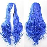 SAEONS(サエオンズ) コスプレ フルウィッグ ロング カール 斜め前髪 ふんわり コスチューム イベント 高品質 耐熱 自然 ブルー