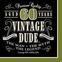 Creative Converting Vintage Dude 60th Birthday Lunch Napkins (Party Pack: 48 Count) [並行輸入品]