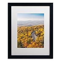 商標Fine Art Blue Ridge Parkwayホワイトマットアートワークby Pierre Leclerc White Matte, Black Frame 16x20 PL0092-B1620MF