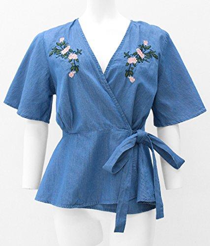 anap mimpi デニム刺繍カシュクールトップス ブルー F