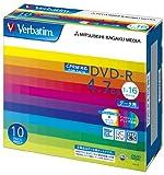 三菱化学メディア Verbatim DVD-R(CPRM) 4.7GB 1回記録用 1-16倍速 5mmケース 10枚パック ワイド印刷対応 ホワイトレーベル DHR47JDP10V1