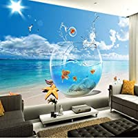 Xbwy パーソナライズされたカスタマイズ海辺の風景ジャンプ金魚写真壁紙モダンなリビングルームの家の装飾3D壁画-400X280Cm